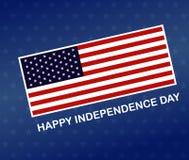 Знамя Дня независимости, в-четвертых от июля Американский флаг на голубой предпосылке r иллюстрация штока