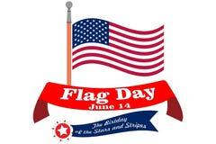 Знамя Дня флага Плакат для дня рождения 14-ое июня американского государственного флага США Развевали символ США национальный на  бесплатная иллюстрация