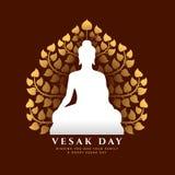 Знамя дня Vesak с белым Буддой размышляет дизайн вектора предпосылки дерева Bodhi знака и золота иллюстрация вектора
