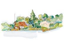 Знамя дома сельской местности с деревьями - конструируйте для карточки или крышки, графической иллюстрации Стоковая Фотография RF