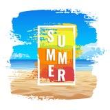 Знамя лета, тропический пляж, рамка цвета Стоковые Фото