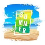 Знамя лета, тропический пляж, рамка цвета Стоковая Фотография RF