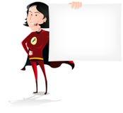 Знамя женщины супер героя Стоковое Фото