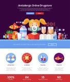 Знамя заголовка вебсайта аптеки аллергии с элементами webdesign иллюстрация штока