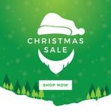Знамя зеленого цвета продажи рождества Санты иллюстрация штока
