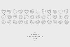 Знамя значков сердец Счастливая карточка дня валентинок в стиле doodle Стоковая Фотография