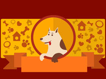 Знамя зоомагазина с вектором шаржа собаки Стоковая Фотография RF