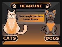 Знамя зоомагазина с собакой кота, иллюстрацией шаржа вектора Стоковые Фотографии RF
