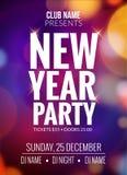 Знамя дизайна партии Нового Года Света bokeh шаблона рогульки торжества события Приглашение 2017 плаката Нового Года праздничное иллюстрация вектора