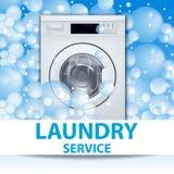Знамя или плакат прачечной Предпосылка стиральной машины передняя нагружая с пузырями мыла реалистическая иллюстрация 3d Фронт иллюстрация вектора