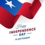 Знамя или плакат торжества Дня независимости Чили Развевая флаг также вектор иллюстрации притяжки corel Стоковое фото RF