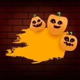Знамя или плакат grunge сети хеллоуина оранжевые при тыквы хеллоуина страшные изолированные на предпосылке кирпичной стены funky иллюстрация вектора