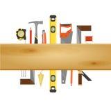 Знамя инструмента плотника плоское Стоковые Фотографии RF