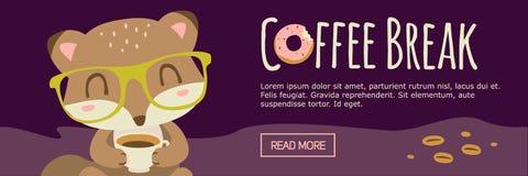 Знамя лисы шаржа перерыва на чашку кофе Стоковые Фотографии RF