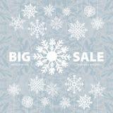 Знамя и снег предпосылки продажи зимы Рождество Новый Год вектор Стоковые Фотографии RF