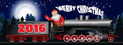Знамя иллюстрации Санта Клауса на локомотиве пара Стоковые Фото