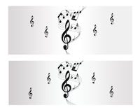 Знамя вектора мелодии, примечания и нот Стоковое Изображение RF