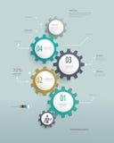 Знамя & карточка вариантов номера Infographics шестерней иллюстрация штока