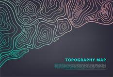 Знамя карты топографии вектора абстрактное Топографическая предпосылка контура Решетка Topo стоковые изображения rf