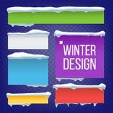 Знамя, кнопка с снегом покрывает вектор Элемент льда зимы Нового Года Замороженным иллюстрация изолированная влиянием иллюстрация штока