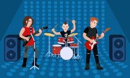 Знамя концепции диапазона рок-группы, плоский стиль иллюстрация штока