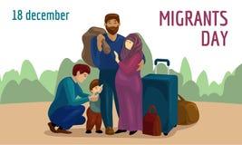 Знамя концепции дня переселенцев мира, стиль мультфильма иллюстрация штока