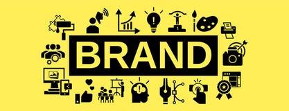Знамя концепции работы команды бренда, простой стиль иллюстрация штока