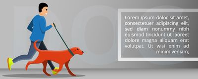 Знамя концепции собаки на открытом воздухе идущее, стиль мультфильма иллюстрация вектора
