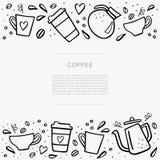 Знамя кофе handdrawn с космосом для вашего текста Handdrawn illustation вектора с кофейными чашками и баками кофе Стоковое Изображение