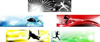 знамя красит 5 олимпийских типичных Стоковая Фотография RF