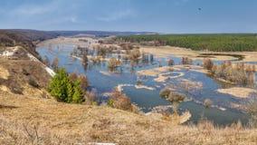Знамя ландшафта весны, панорама - поток весны в River Valley стоковые изображения rf