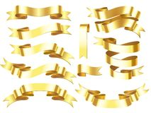 Знамя ленты золота Золотые ленты награды или торжества горизонтальные с сияющим переченем изолировали иллюстрацию вектора иллюстрация вектора