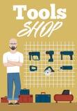 Знамя магазина инструментов с аппаратурами Стоковые Фото
