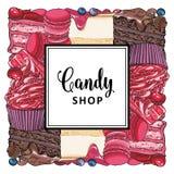 Знамя магазина конфеты с пирогами, пирожными и печеньями украшенными с ягодами бесплатная иллюстрация