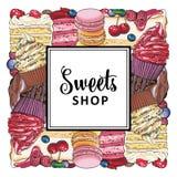 Знамя магазина конфеты с пирогами, пирожными и печеньями украшенными с ягодами собранными в квадратной форме бесплатная иллюстрация