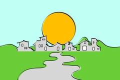 знамя меньшее село иллюстрация штока