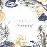 Знамя морепродуктов вектора нарисованное рукой Омар, семга, краб, креветка, ocotpus, кальмар, clams Стоковая Фотография