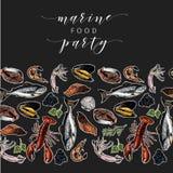 Знамя морепродуктов вектора нарисованное рукой покрашенный омар, семга, краб, креветка, осьминог, кальмар, clams Выгравированное  Стоковое Фото