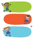 Знамя назад к вектору логотипа литерности зрачка девушки школьника Стоковая Фотография RF