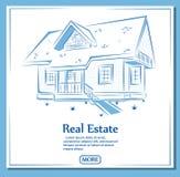 Знамя недвижимости в стиле нарисованном рукой Стоковое Изображение RF