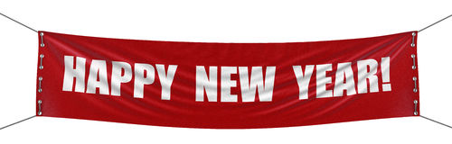 Знамя Нового Года (включенный путь клиппирования) Стоковые Фото