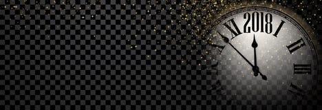 Знамя 2018 Новых Годов с часами Стоковые Фотографии RF