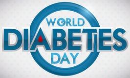 Знамя дня диабета мира с голубым падением круга и крови, иллюстрацией вектора Стоковое Фото