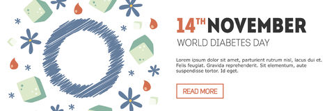 Знамя дня диабета Стоковое Фото