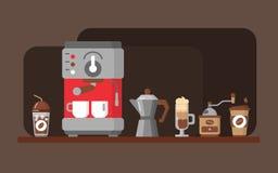 Знамя оборудования кофе также вектор иллюстрации притяжки corel Стоковая Фотография