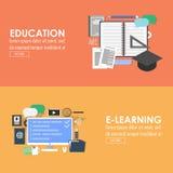 Знамя образования и обучения по Интернетуу Стоковое фото RF