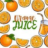 Знамя обрамленное с апельсинами и свежим соком, местом для текста иллюстрация штока