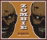 Знамя партии зомби хеллоуина вектора Стоковое Изображение