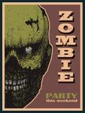 Знамя партии зомби хеллоуина вектора Стоковые Изображения