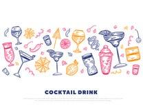 Знамя партии коктеиля горизонтальное Vector дизайн с стеклами, шейкерами, лимоном Красочная рука гравировки Doodle спирта Бесплатная Иллюстрация